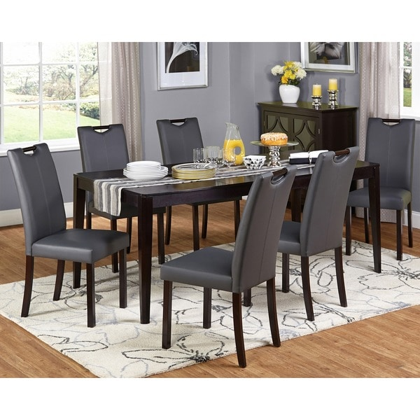 Leather Dining Set: Simple Living Tilo Grey Faux Leather And Wengewood 7-piece