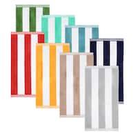 Superior Oversized Cabana Stripe Cotton Jacquard Beach Towel (Set of 2)
