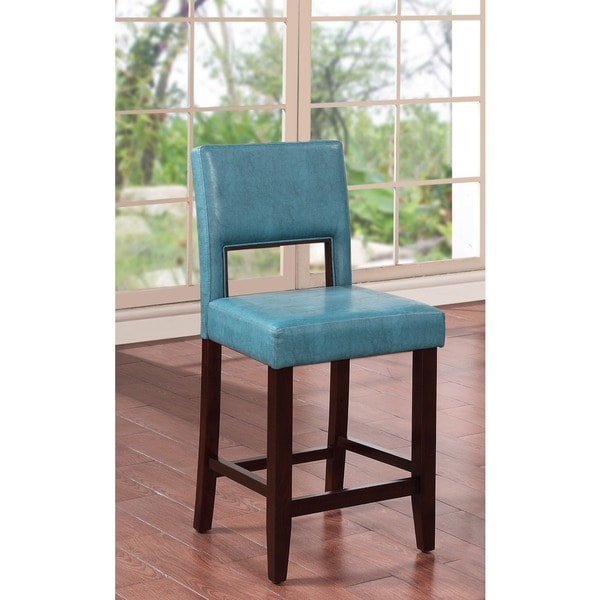 Oh Home Zeta Stationary Bar Stool With Ocean Blue Fabric