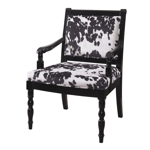 Glossy Black Cow Print Chair 16452689 Overstock Com