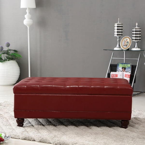 Luxury Comfort Collection Classic Burgundy Tufted Storage