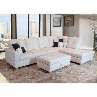 Wondrous Buy Sale Delma 3 Piece White Faux Leather Right Chaise Spiritservingveterans Wood Chair Design Ideas Spiritservingveteransorg