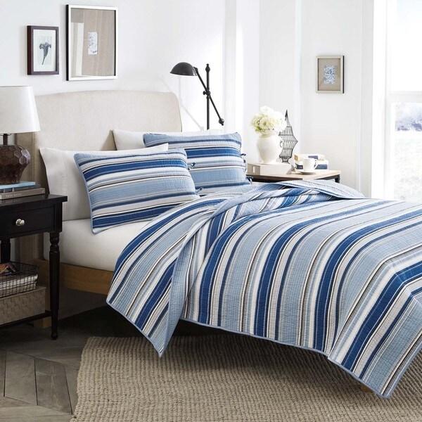 Stone Cottage Fresno Blue 3 Piece Cotton Quilt Set