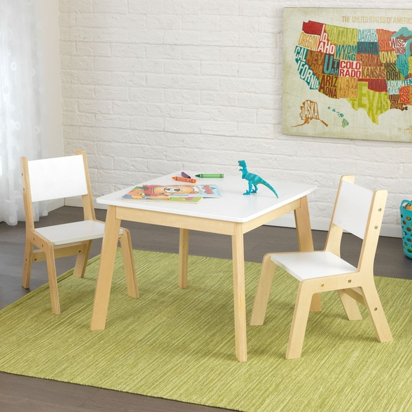 Kidkraft 3 Piece White And Natural Modern Table And Chair