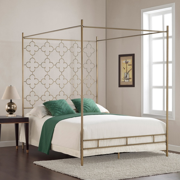 Retro Glitz Quatrefoil Queen Canopy Bed 80005266