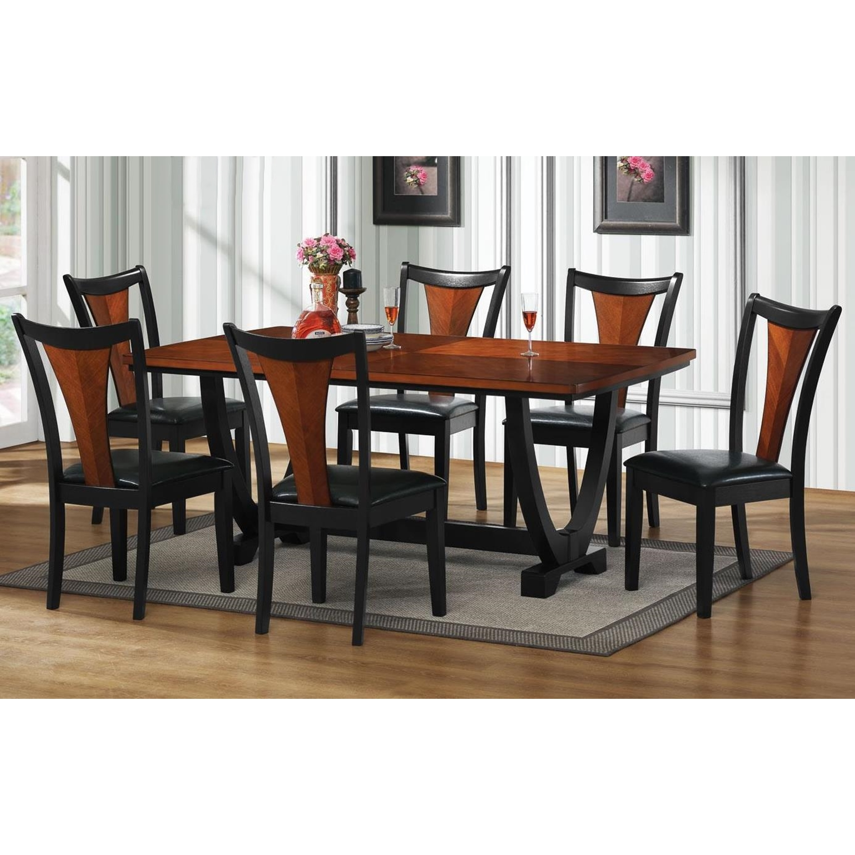 Discount Dining Room Sets Free Shipping: Besancon Two-tone Black/ Cherry 7-piece Dining Set