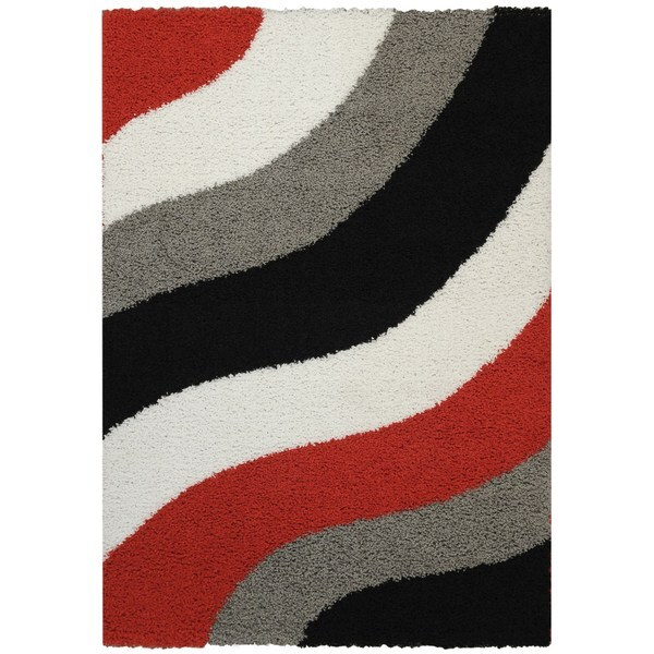 Maxy Home Shag Block Striped Waves Red Black White Grey