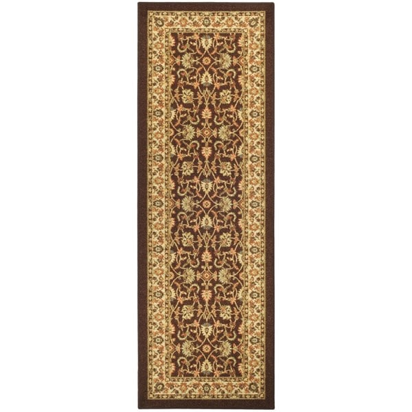 Rubber Back Brown Traditional Floral Non Slip Long Runner