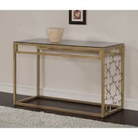 The Curated Nomad Quatrefoil Goldtone Metal and Glass Sofa Table