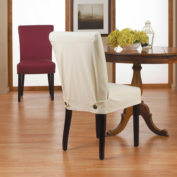 Dining Room Chairs Slipcovers: Duck Short Relaxed Fit Dining Chair Slipcover With Buttons