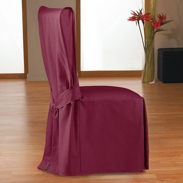 Duck Long Relaxed Fit Dining Chair Slipcover With Ties