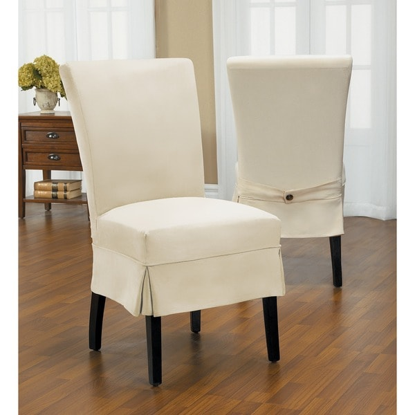 dining room chair slipcover | Duck Mid-Pleat Relaxed Fit Dining Chair Slipcover with ...