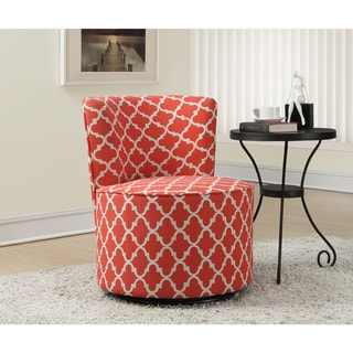 Portfolio Niles Pink Coral Medallion Armless Accent Chair