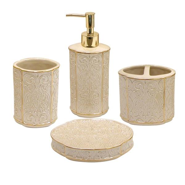 furla damask cream bath accessory 4-piece set - overstock