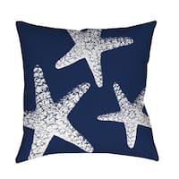 Nautical Nonsense White and Blue Starfish Indoor/Outdoor Throw Pillow