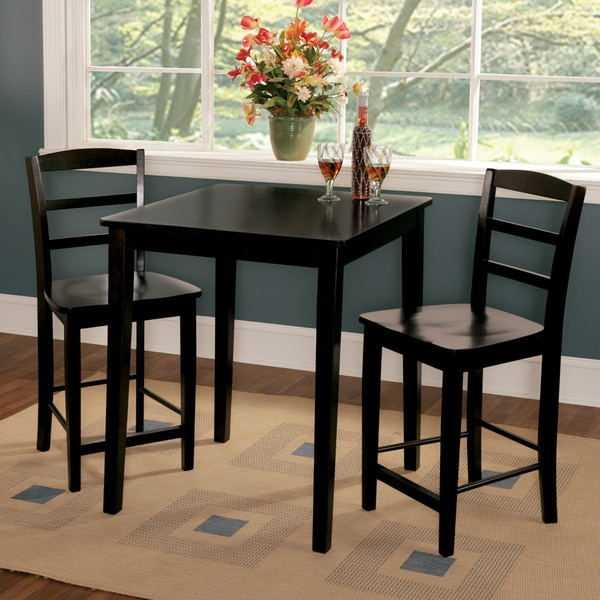 Dinet Set: Madrid 30-inch Black Counter Height 3-piece Dining Set