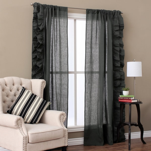 Linen Ruffled Curtain Panel Pair 16502316 Overstock