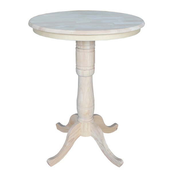 Unfinished 42 Inch High Round Bar Height Pedestal Table