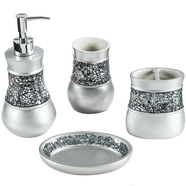 crackled glass nickel 4 piece bath accessory set overstock shopping the best prices on. Black Bedroom Furniture Sets. Home Design Ideas