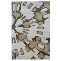 Linon Milan Collection Ivory/ Brown Area Rug - 8' x 10'3