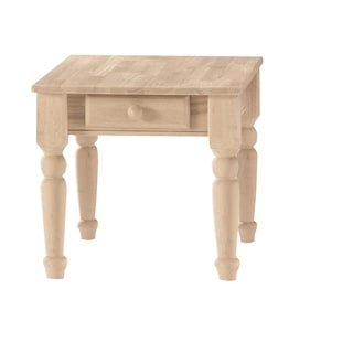 Square Solid Parawood Unfinished 2 Drawer Lamp Table