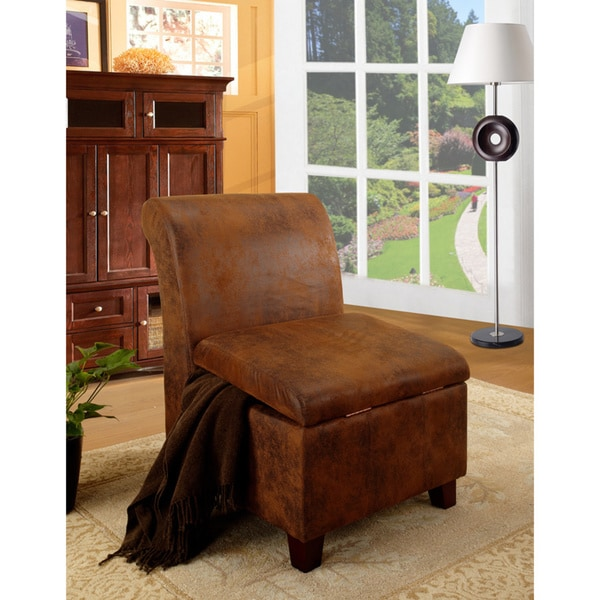 Rustic Brown Microfiber Lift-top Storage Accent Chair