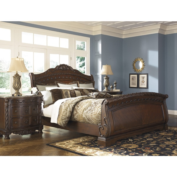 North Shore Sleigh Bedroom Set From Ashley B553: Signature Design By Ashley North Shore Dark Brown Sleigh