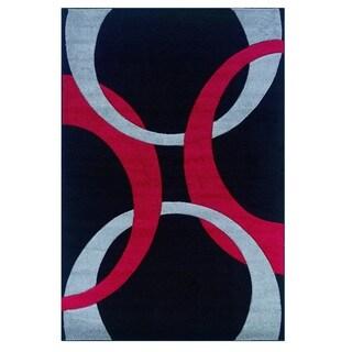 Studio 603 Wave Design Red Area Rug 5 X 14812061