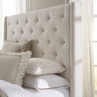 Wingback Button Tufted Cream Queen Size Upholstered