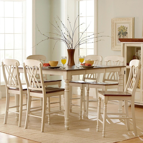 Country White Dining Table: TRIBECCA HOME Mackenzie Country White Extending Dining Table