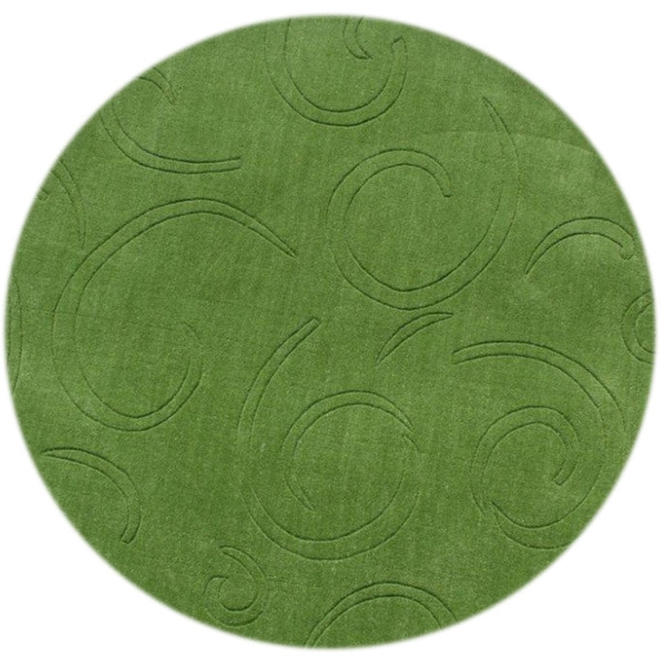 Alliyah Turf Green 6 Foot Round Wool Rug 16558897