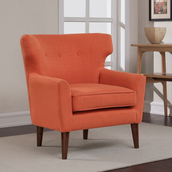 Orange Accent Chair Wingback Club Coral Rust Button Tufted