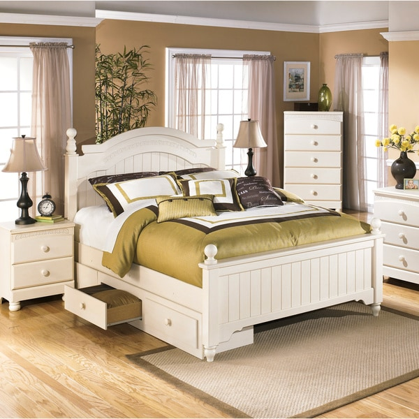 Greyson Living Laguna Antique White Panel Bed 6piece: Ashley Cottage Retreat Cream Poster Bed Set With Under
