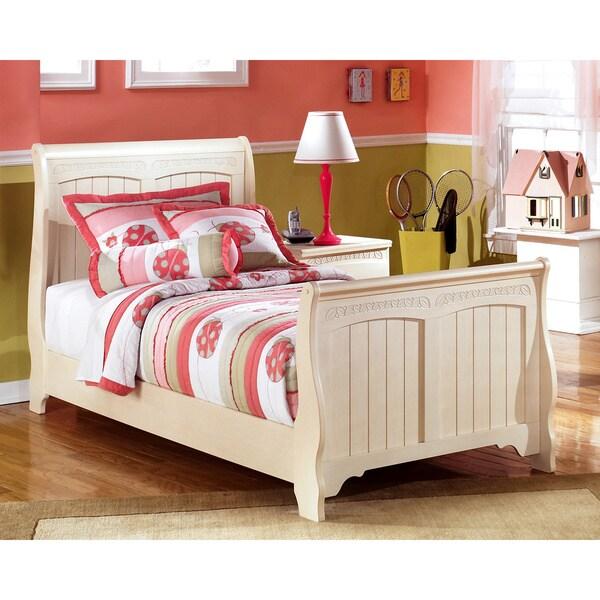 Greyson Living Laguna Antique White Panel Bed 6piece: Ashley Cottage Retreat Cream Sleigh Bed Set