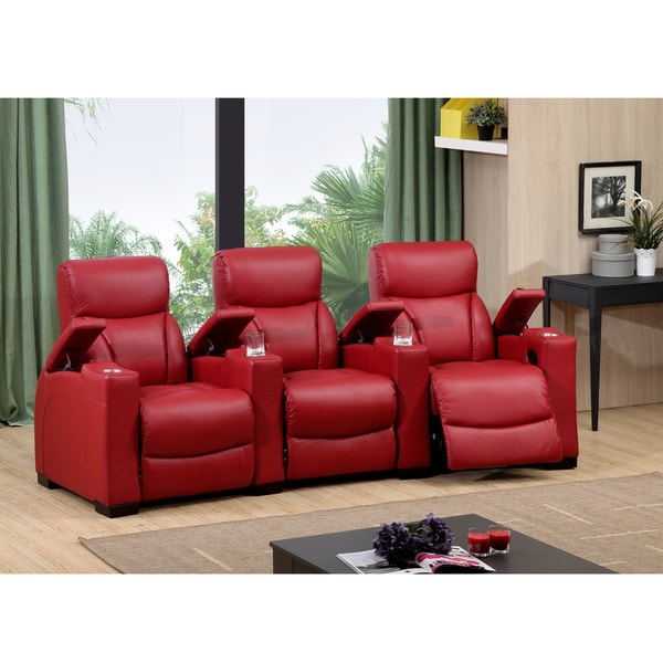 Bristol Two Seat Red Top Grain Leather Recliner Home