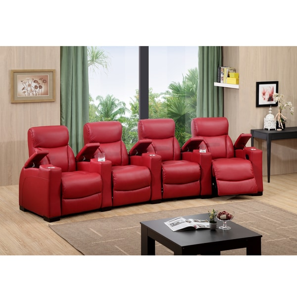 Bristol Four Seat Red Top Grain Leather Recliner Home