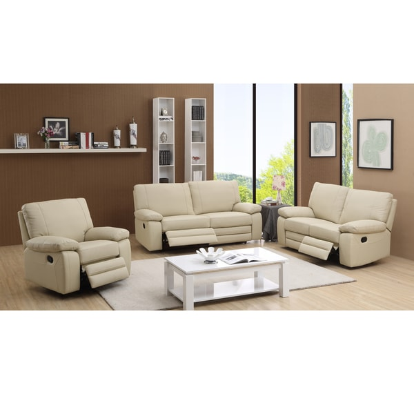 Avery Beige Top Grain Leather Reclining Sofa Loveseat And