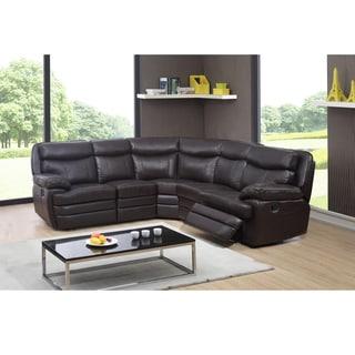 Kenton Dark Brown Top Grain Leather Reclining Sectional Sofa