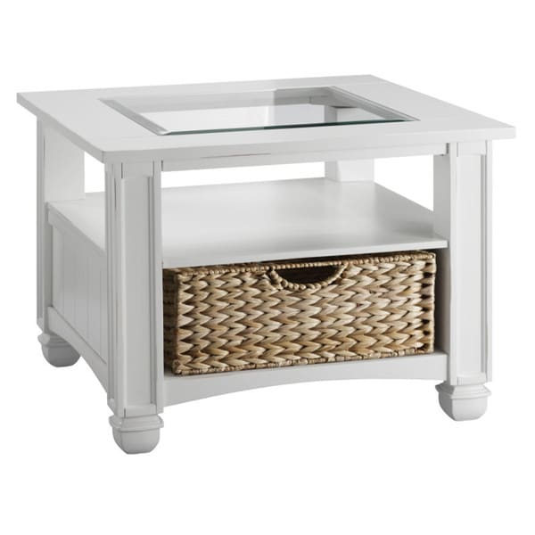 Nantucket Cottage White And Sea-grass Drawer End Table