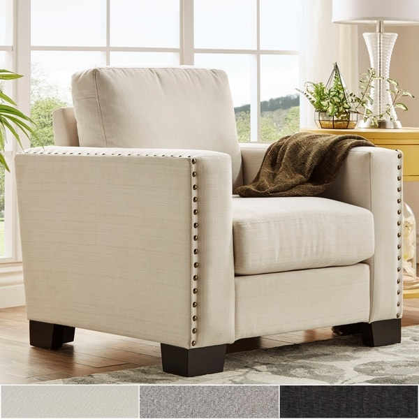Torrington Linen Nailhead Track Arm Accent Chair by iNSPIRE Q Classic