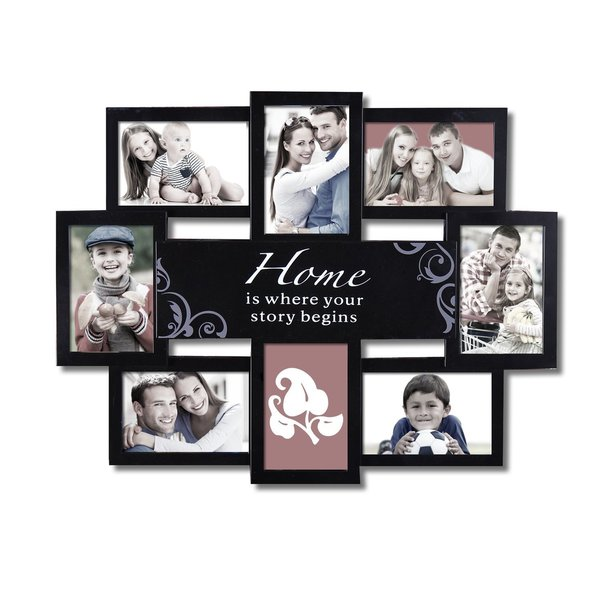 adeco 39 home is where your story begins 39 black 8 opening collage photo frame 16589754. Black Bedroom Furniture Sets. Home Design Ideas