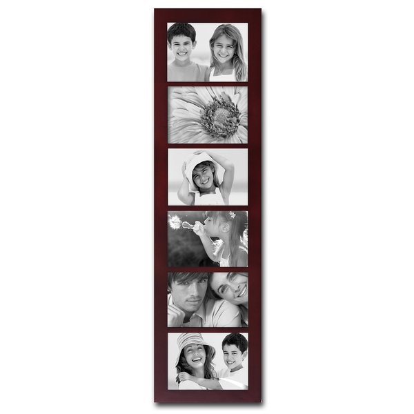 Adeco Walnut Wood 6 Opening Collage Picture Frame