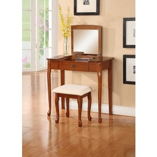 Ashley Wood White Makeup Vanity Table And Stool Set 17882090 Overstock Com Shopping The