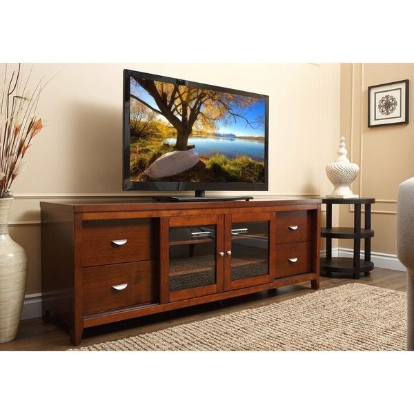 Abbyson Living Clarkston 72 Inch Walnut Wood Tv Console