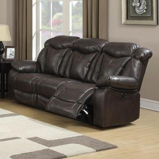 Rotunda Brown Faux Leather Dual Reclining Sofa Reviews