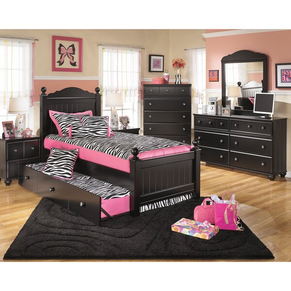 Signature Design By Ashley Jaidyn Black Poster Bed Set With Trundle 16597973 Overstock Com