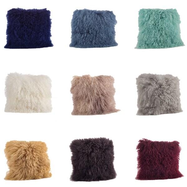 Mongolian Lamb Fur Throw Pillow 16600539 Overstock Com