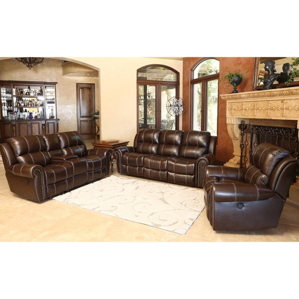 Abbyson Living Clarendon 3 Piece Top Grain Leather Power