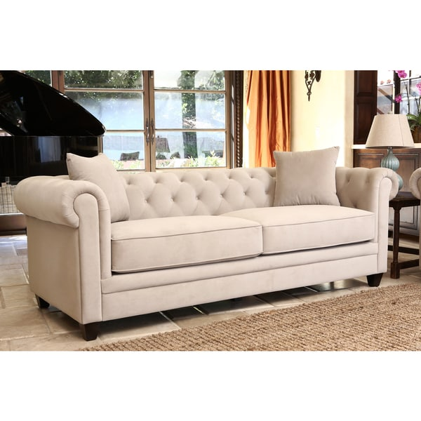 ABBYSON LIVING Fulton Beige Velvet Fabric Tufted Sofa ...