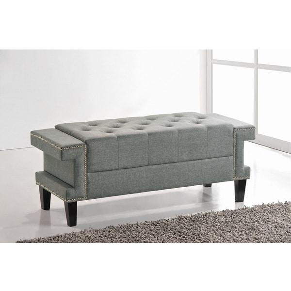 Baxton Studio Alfie Grey Linen Modern Tufted Bench